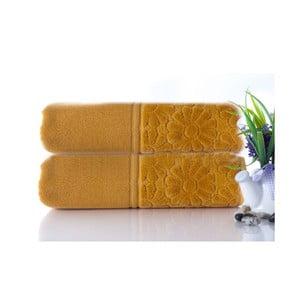 Zestaw 2 ręczników Samba Mustard Color, 50x90 cm