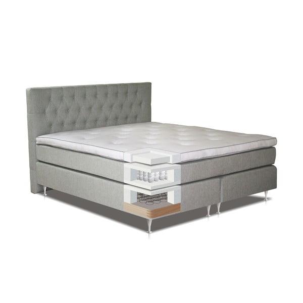 Jasnoszare łóżko z materacem Gemega Nature, 120x200 cm