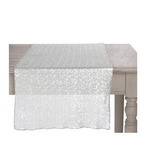 Srebrny   ozdobny bieżnik Sequin, 42x150 cm