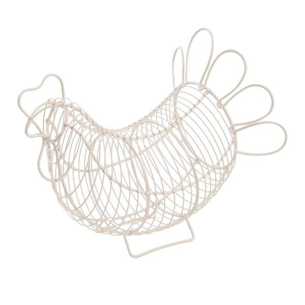 Biały koszyk metalowy na jajka T&G Woodware Chicken