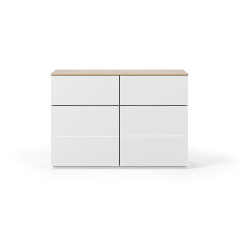 Biała komoda z szufladami i blatem w dekorze drewna dębowego TemaHome Join, 120x84 cm