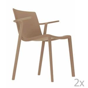 Zestaw 2 beżowych krzeseł ogrodowych z podłokietnikami Resol Kat