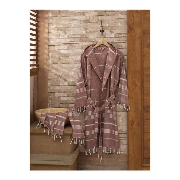Zestaw szlafrok i ręcznik Sultan Light Brown, rozmiar L/XL