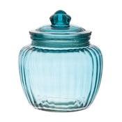 Szklany pojemnik Ribbed Blue, 15x17 cm