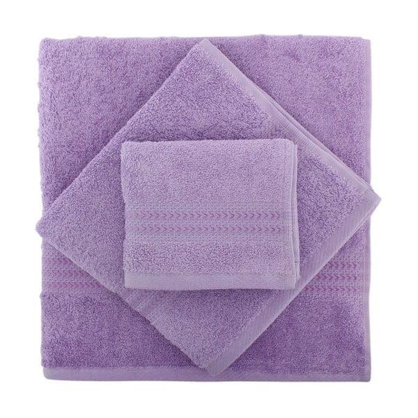 Zestaw 3 fioletowych ręczników Rainbow