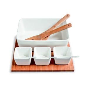 Miski do serwowania na bambusowej tacy Mythos, 31x27 cm