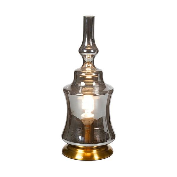 Szara kryształowa lampa stołowa Santiago Pons, wys. 48 cm