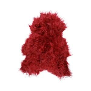 Czerwona skóra owcza z długim włosiem Donna, 90x50cm