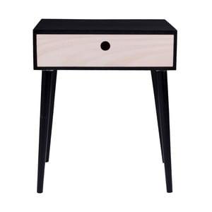 Czarny stolik nocny z drewna z szufladą House Nordic Parma