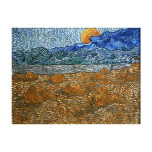 Reprodukcja obrazu Vincenta van Gogha - Landscape with wheat sheaves and rising moon, 40x30 cm