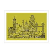Plakat London Green&Grey, 50x70 cm