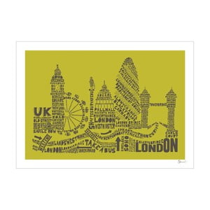 Plakat London Green&Grey, 50x70 cm