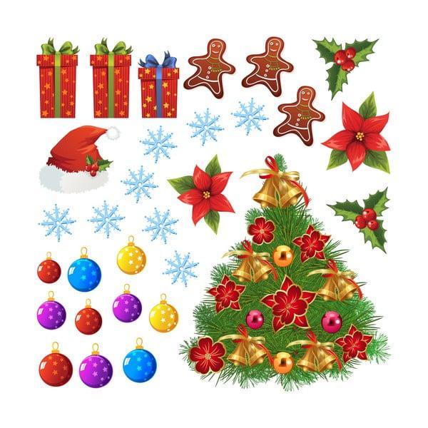 Naklejki Christmas Tree and Flakes
