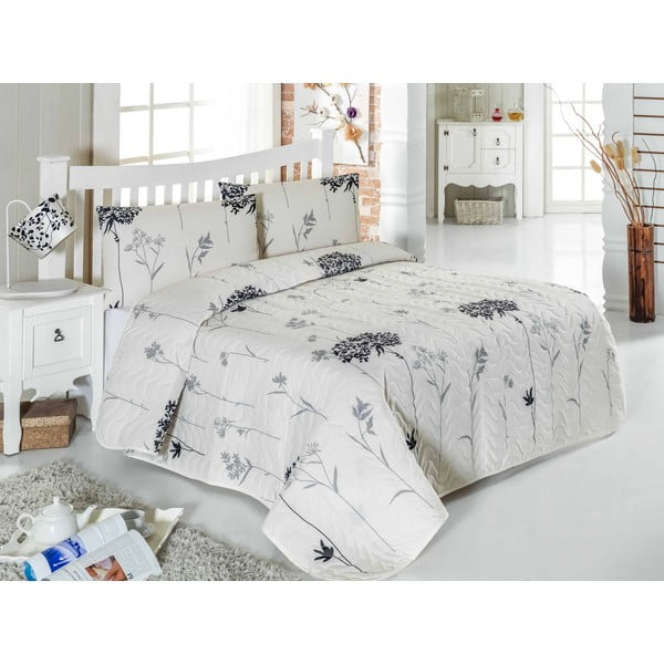 Pikowana narzuta i poszewki na poduszki Efil, 200x220 cm