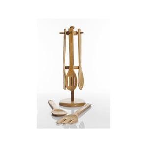 Bambusowy stojak z zestawem łyżek kuchennych Rogi