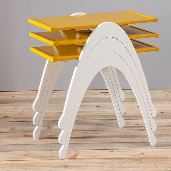 Zestaw 3 stolików Vega Nesting Yellow/White