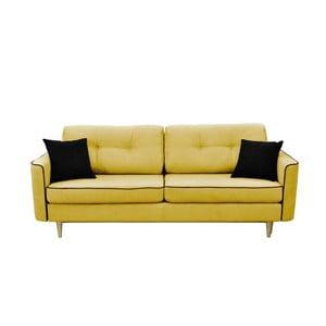 Musztardowa 3-osobowa sofa rozkładana z jasnymi nogami Mazzini Sofas Ivy