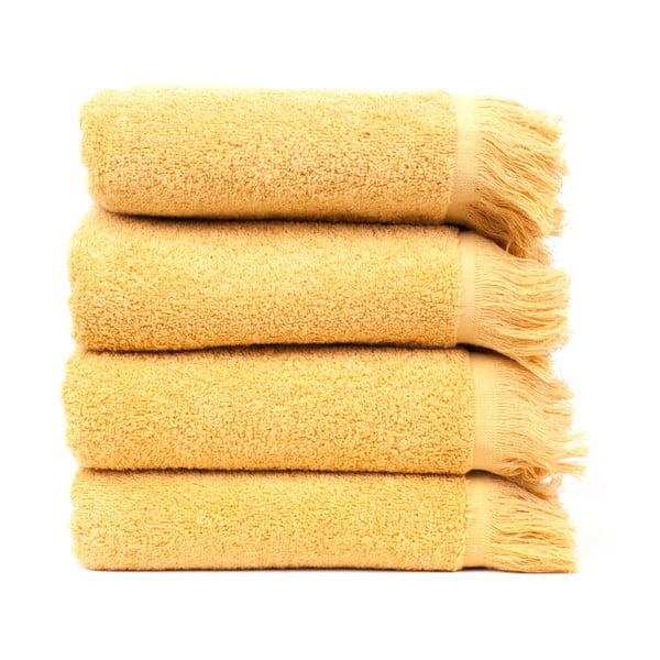 Komplet 4 żółtych ręczników Casa Di Bassi Sun, 50x90 cm