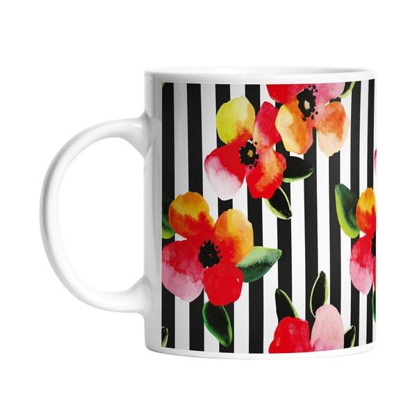 Kubek ceramiczny Stripes and Flowers, 330 ml