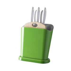 Zielony stojak wielofunkcyjny z nożami i deską