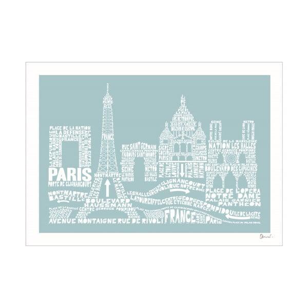 Plakat Paris Blue&White, 50x70 cm