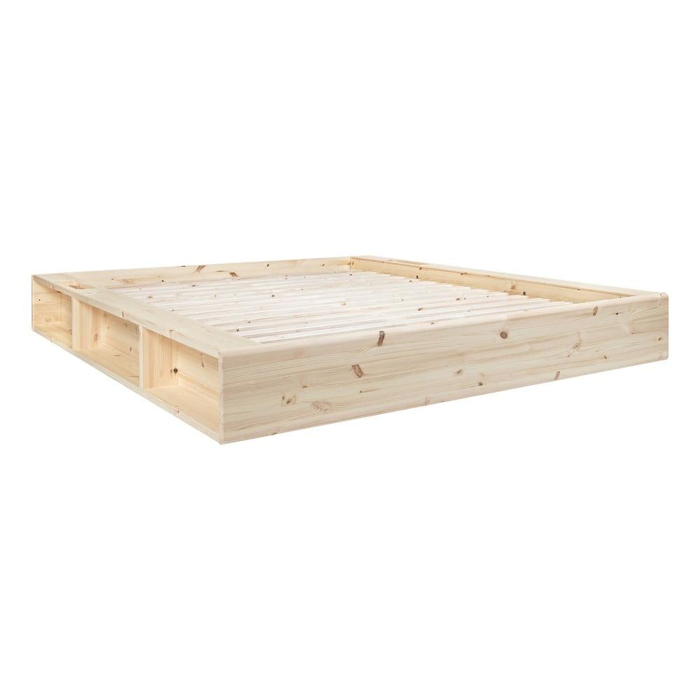 Łóżko dwuosobowe z litego drewna ze schowkiem Karup Design Ziggy, 180x200cm