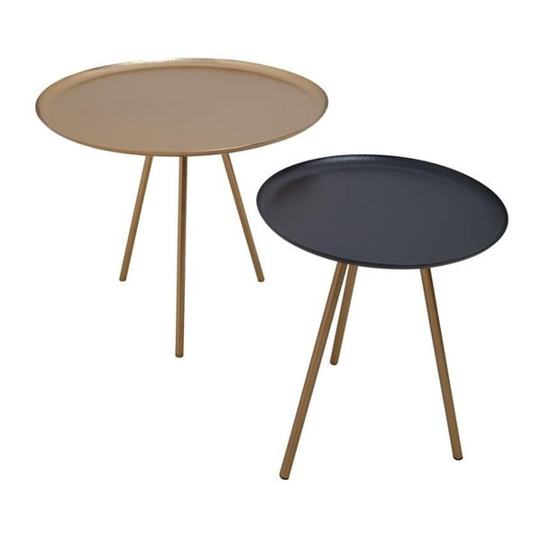 Zestaw 2 stolików Nesting Gold/Black