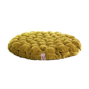Musztardowa poduszka do siedzenia wypełniona piłeczkami do masażu Lindy Vrňáková Bloom, Ø 75 cm