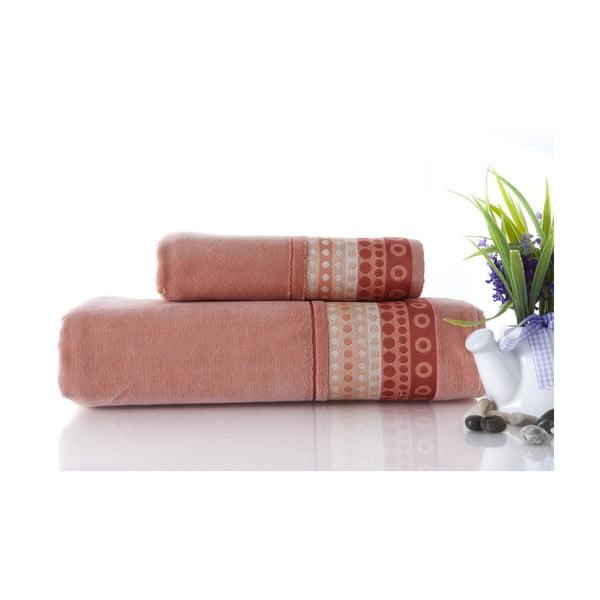 Zestaw 2 ręczników Golf Pinkish Orange, 70x140 i 50x90 cm