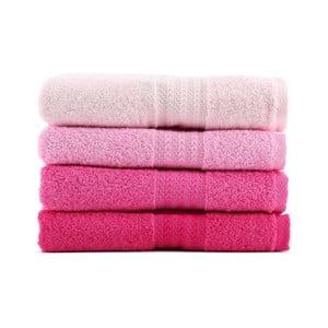 Zestaw 4 różowych ręczników Rainbow Rose, 50x90cm