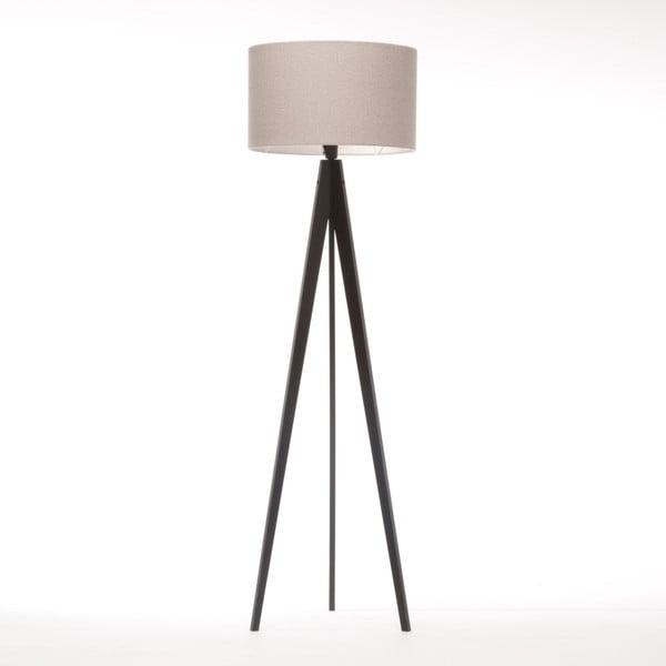 Kremowa lampa stojąca 4room Artist, czarna lakierowana brzoza, 150 cm