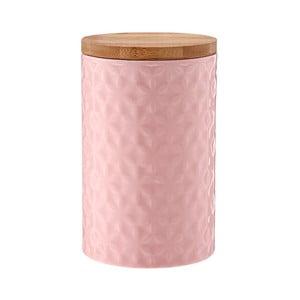 Różowy porcelanowy pojemnik z bambusowym wieczkiem Ladelle Halo Flower, wys. 17cm