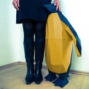 Papierowa rzeźba Pingwin XL, czarno-złota
