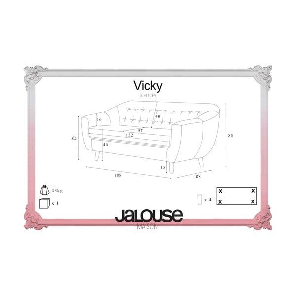 Szara sofa trzyosobowa Jalouse Maison Vicky
