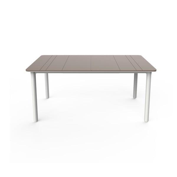 Beżowo-biały stół ogrodowy Resol NOA, 160x90cm