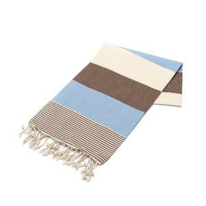 Beżowo-brązowy ręcznik Hammam Amerikan, 100x180cm
