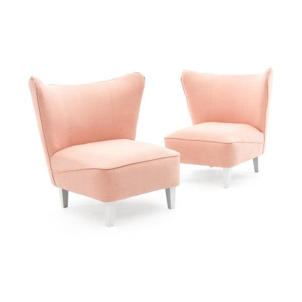 Różowy fotel z jasnymi nogami Vivonita Sandy