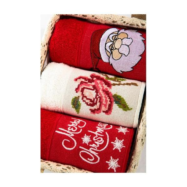 Zestaw 3 ręczników Xmas V34, 30x50 cm