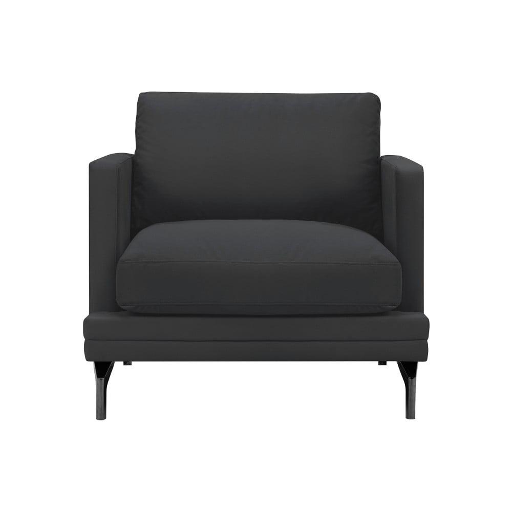 Jasnoszary fotel z czarną konstrukcją Windsor & Co Sofas Jupiter