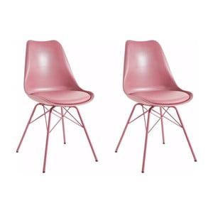 Zestaw 2 różowych krzeseł Støraa Lucinda