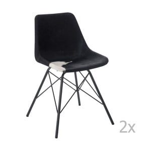 Zestaw 2 czarno-białych krzeseł skórzanych J-Line Cross
