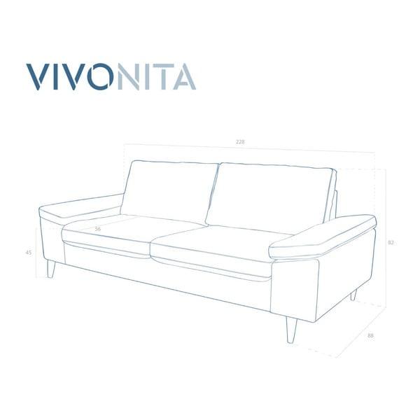 Różowa sofa 3-osobowa Vivonita Nathan