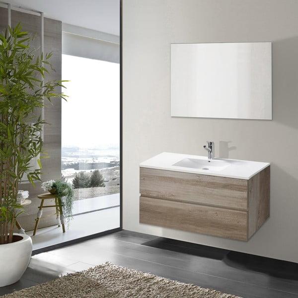 Szafka do łazienki z umywalką i lustrem Flopy, motyw dębu, 90 cm