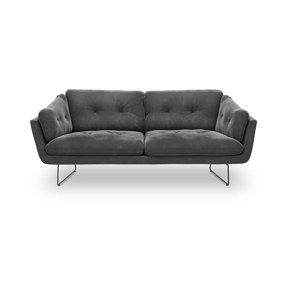 Ciemnoszara 3-osobowa sofa z aksamitnym obiciem Windsor & Co Sofas Gravity