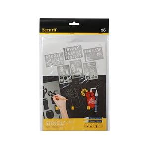 Zestaw 5 szablonów Securit Liquid Stencil Art