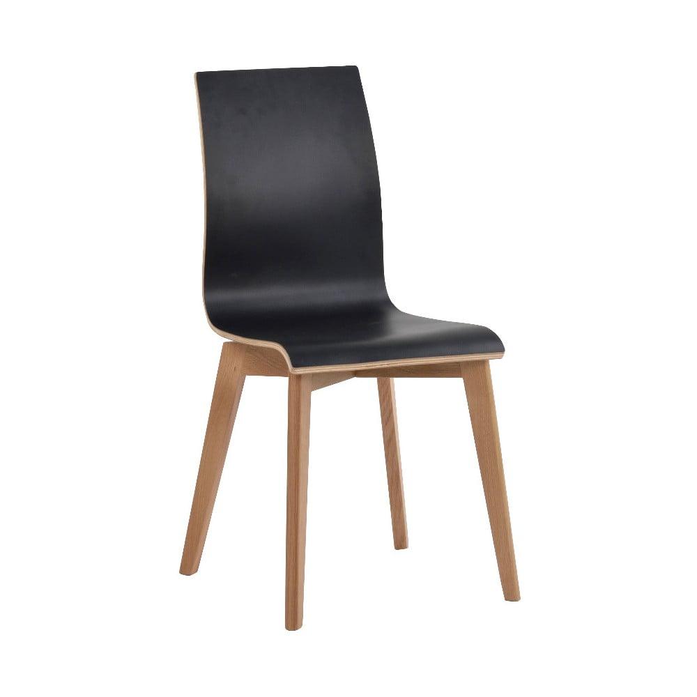 Czarne krzesło do jadalni z brązowymi nogami Rowico Grace