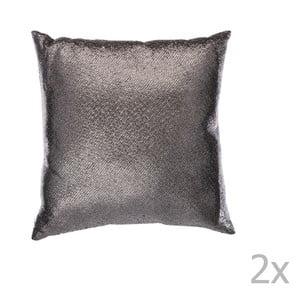Zestaw 2 antracytowych poduszek ozdobnych J-Line Sequin, 45x45 cm