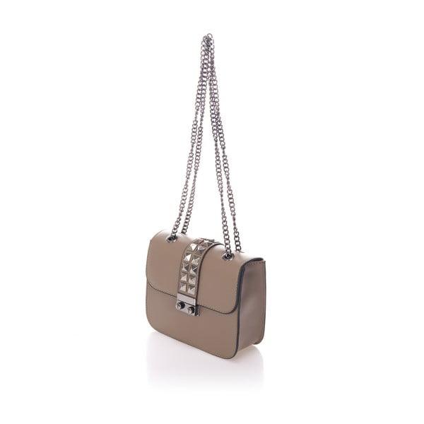 Beżowa skórzana torebka na srebrnym łańcuszku Giulia Massari