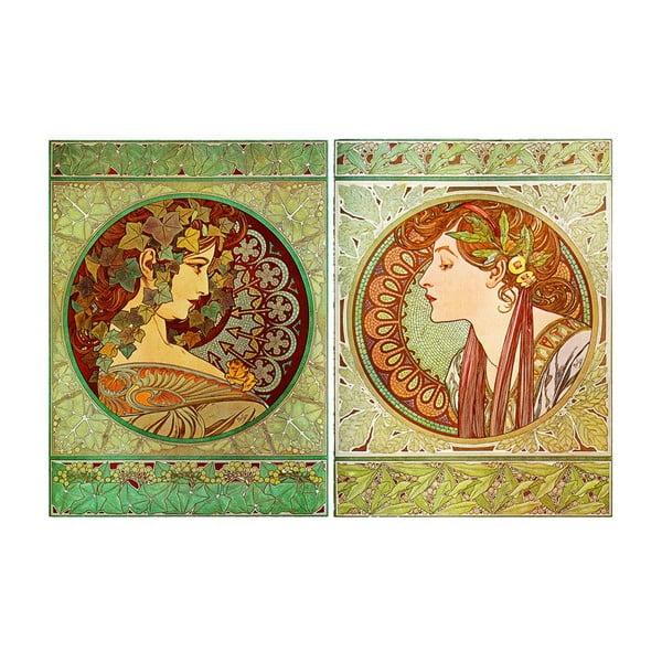 "Zestaw 2 obrazów ""Ivy and Laurel"" (Alfons Mucha), 40x55 cm"