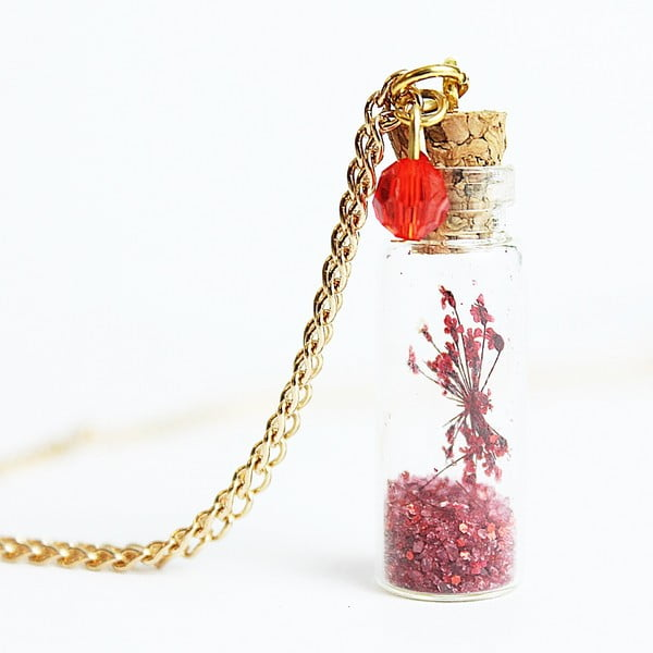 Naszyjnik Wish Bottle and Gold Flowers